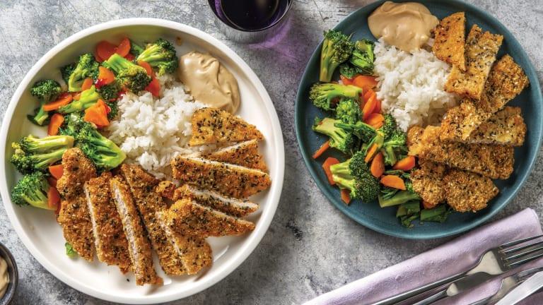 Sesame Pork Schnitzels & Garlic Rice