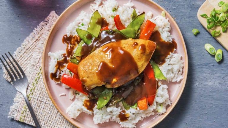 Poulet et légumes rôtis à la sauce hoisin