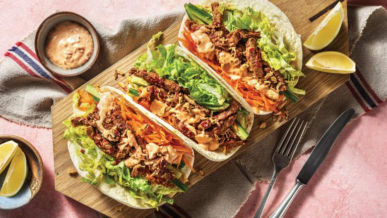 Sichuan Garlic Beef Tacos