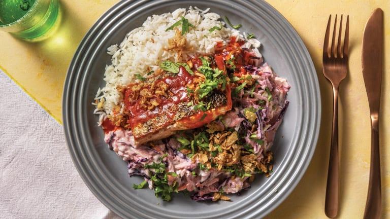 Sichuan-Glazed Salmon with Sesame Slaw & Rice
