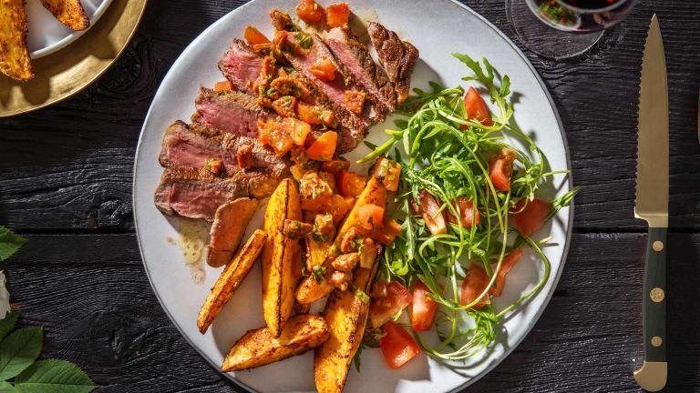 Sirloin Steak, Smoky Wedges & Chorizo Salsa