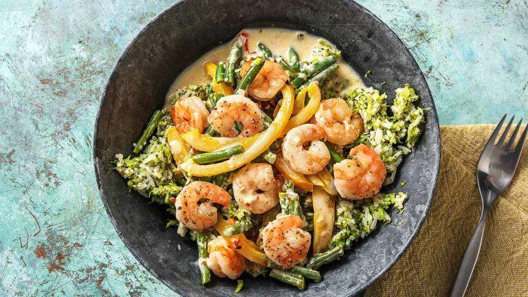 Snelle garnalencurry met broccolirijst