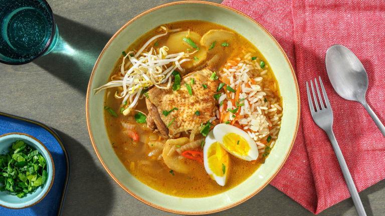 Kruidige kippensoep met citroengras en rijst