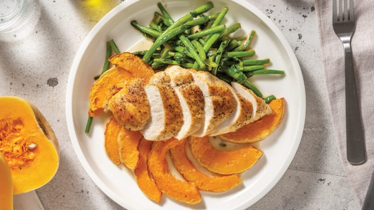 Southeast Asian Spiced Chicken with Roasted Pumpkin & Coconut Makrut Lime Sauce