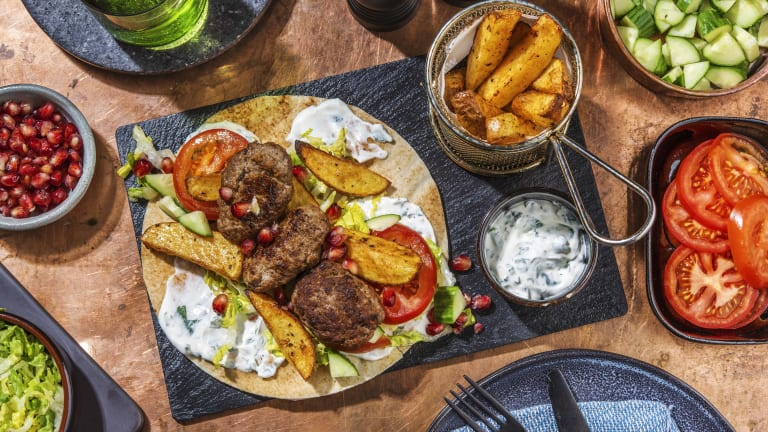 Souvlaki Style Lamb Koftas on Flatbread