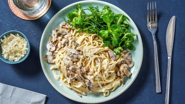 Romige spaghetti met paddenstoelen en truffelolie