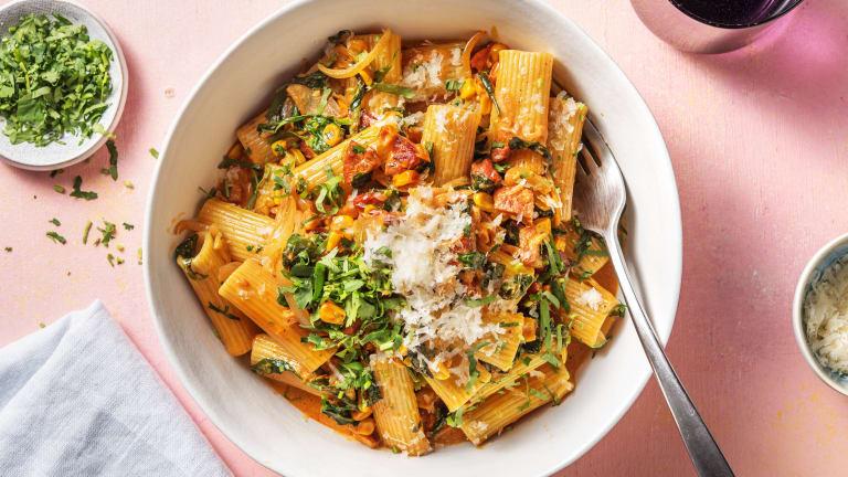 Speedy Creamy Chorizo & Sweetcorn Pasta