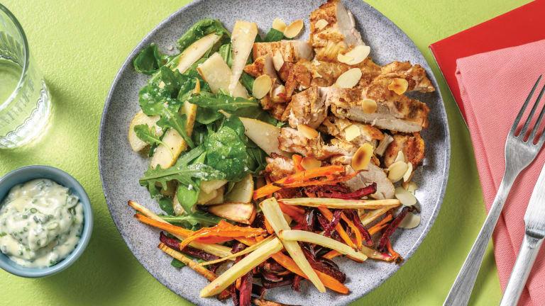 Spiced Chicken & Rainbow Veggie Fries