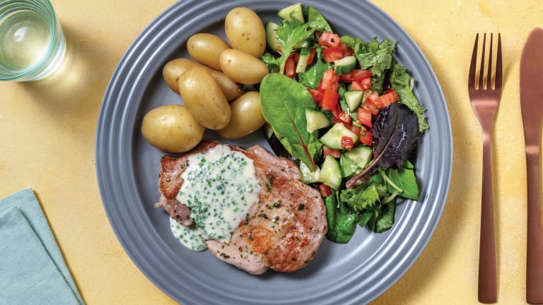 Spiced Pork & Cheesy Chive Sauce with Potatoes