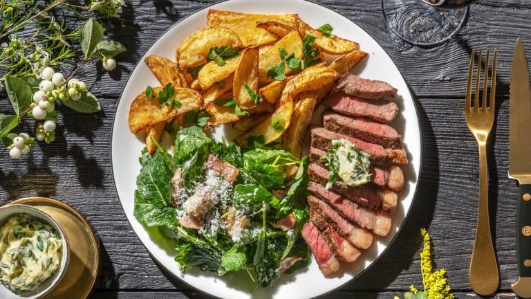 Steak épicé et beurre persillé