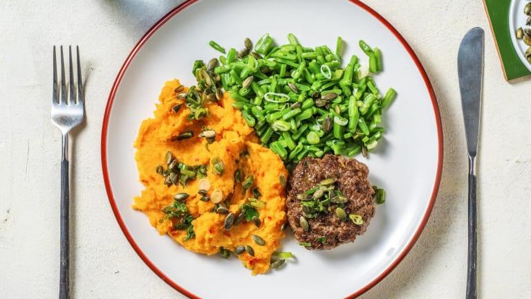 Steak haché et purée de patate douce épicée