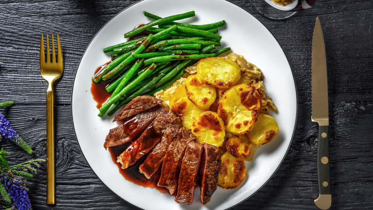 Steak with Dauphinoise Potatoes and Red Wine Jus