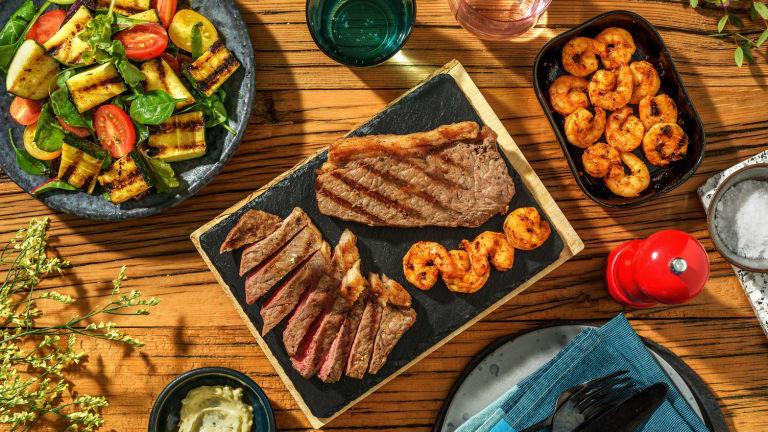 Steak and Montreal Spiced Shrimp