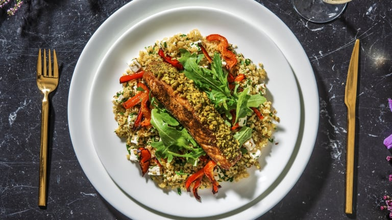 Sticky Pistachio Crusted Salmon