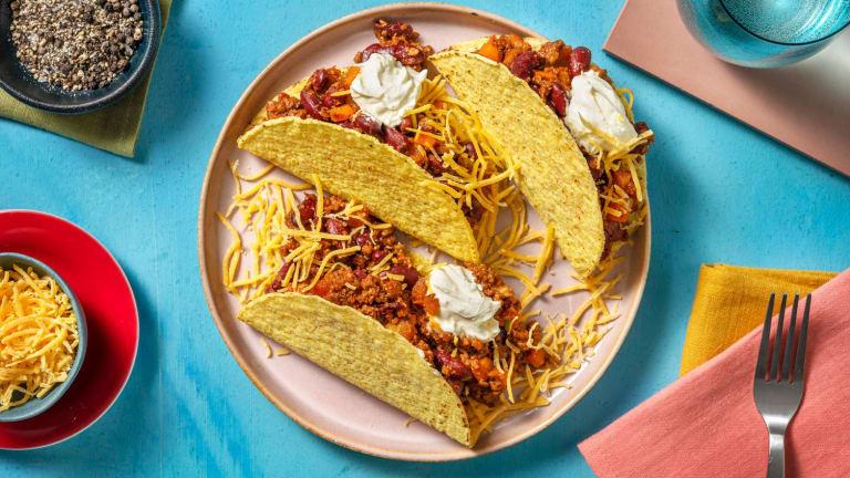 Knapperige taco's met seitan en groene chilipeper