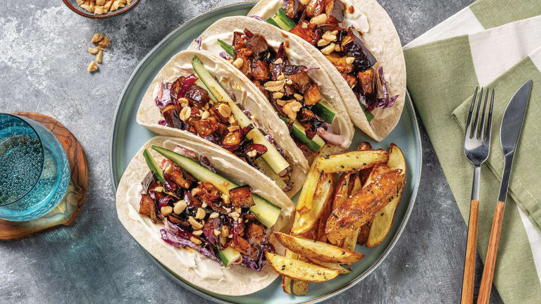Teriyaki Eggplant & Slaw Tacos