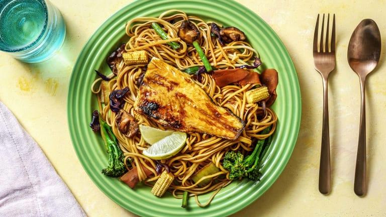 Teriyaki Sea Bass with Rainbow Vegetable & Noodle Stir Fry