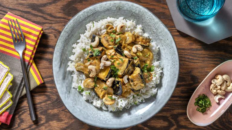 Thai Massaman Style Aubergine and Mushroom Curry