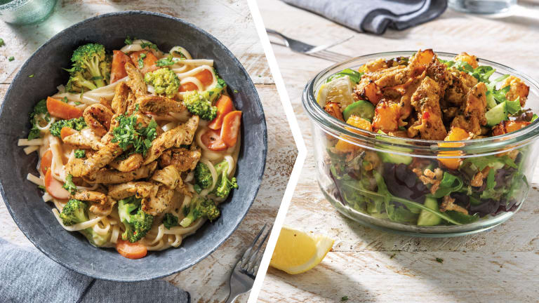 Thai Red Curry Noodles with Spiced Chicken for Dinner
