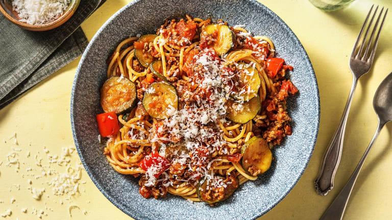 Tomato Garlic Beef Spaghetti
