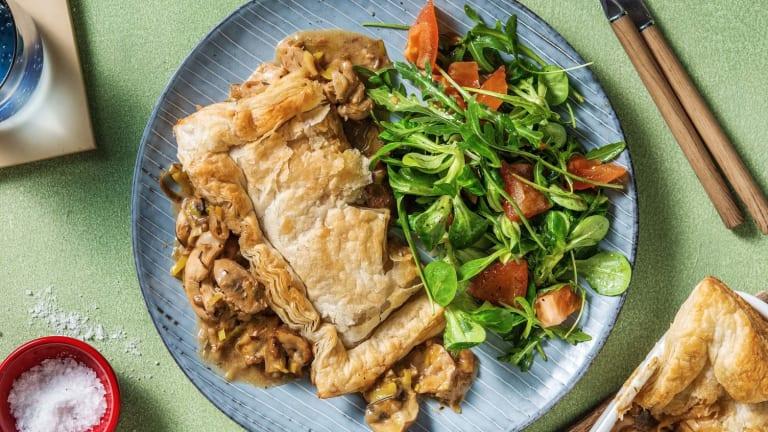 Kippenpastei met prei, champignons en rozemarijn