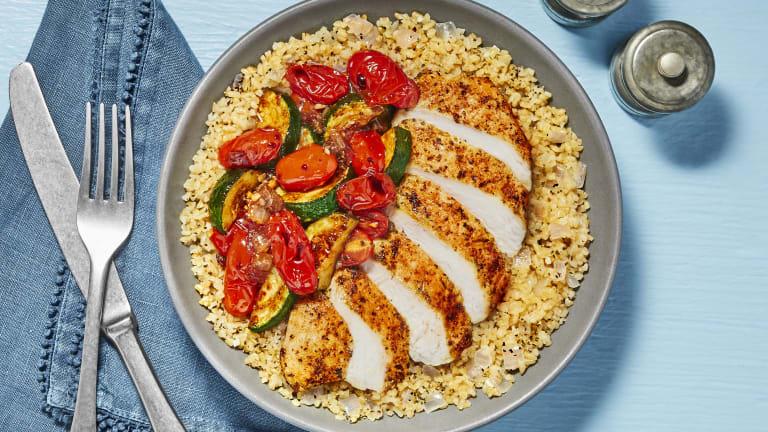Tuscan Chicken over Bulgur Pilaf
