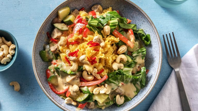 Vegane Gemüsebratpfanne mit Curryreis