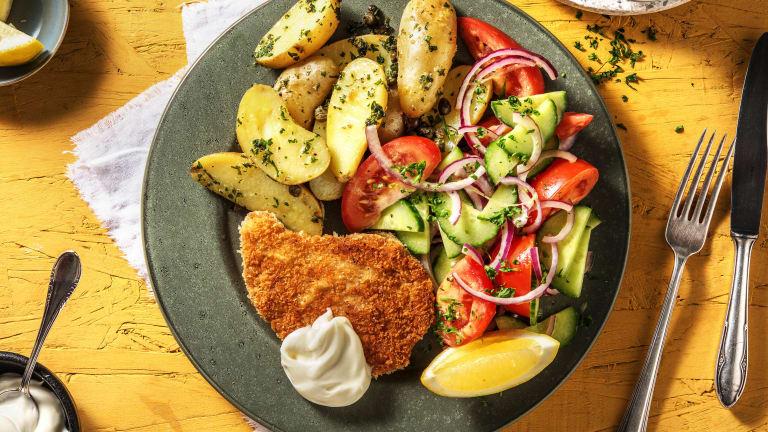 Vegetarische schnitzel met peterseliekrieltjes