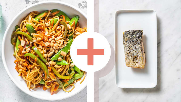 Veggie Noodle Stir fry and Roasted Salmon