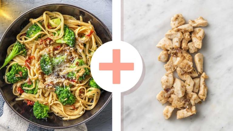 Romige linguine met broccoli en kipfiletstukjes