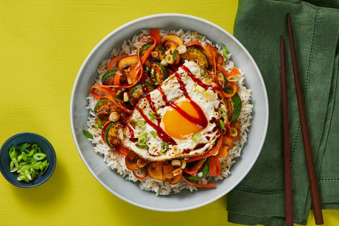 Zucchini & Mushroom Bibimbap Bowls