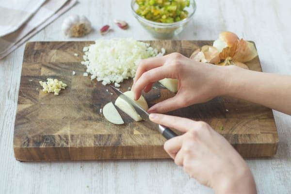 Chop up onions