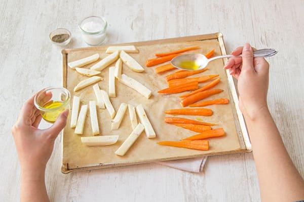 Roast carrots and potatoes
