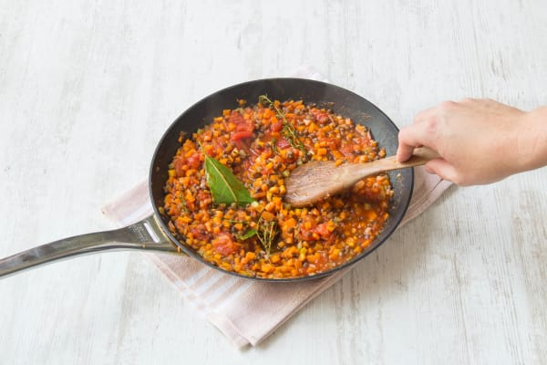 Add puy lentils and chopped tomatoes