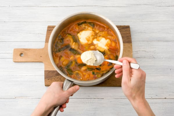 Put the dumplings on the stew