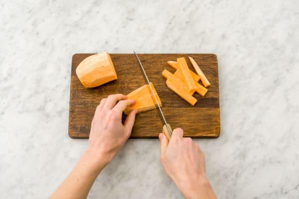 Süßkartoffel schneiden