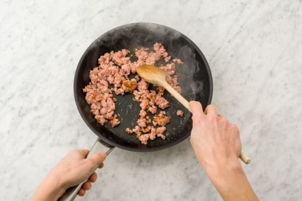 Cook the sausage meat
