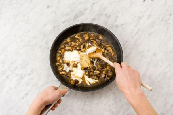 Make the Dijon mushroom sauce