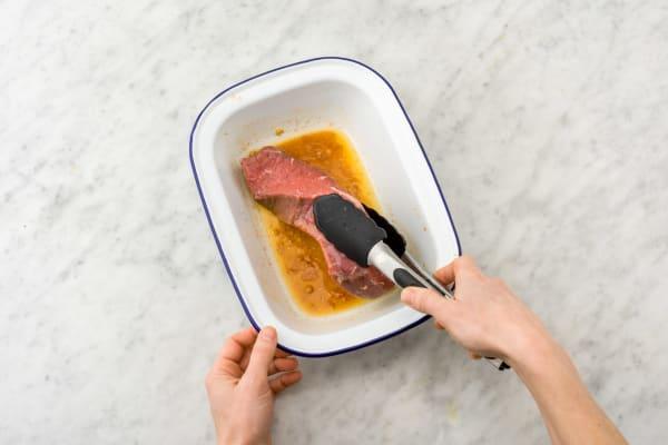 Marinade the premium beef rump