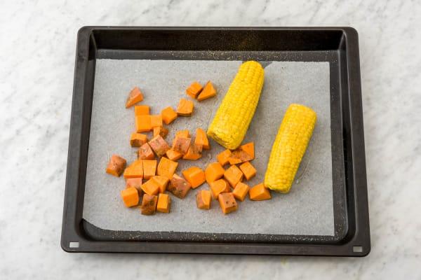 Roast corn and sweet potato