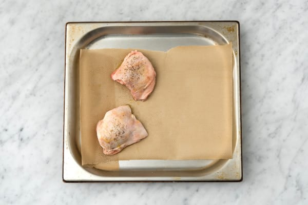 Cook the chicken on a baking tray