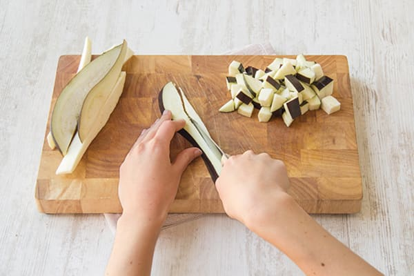Chop the aubergine