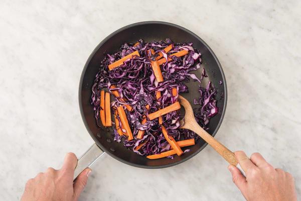 Saute the cabbage