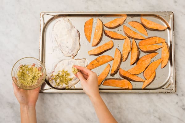 Bake Chicken and Sweet Potatoes