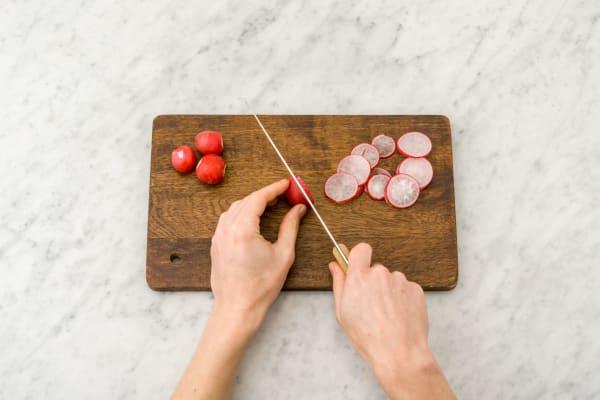 Préparer le radis et le chou