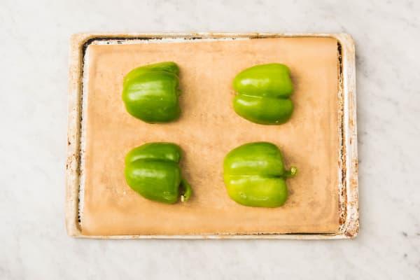 Cuire le poivron vert