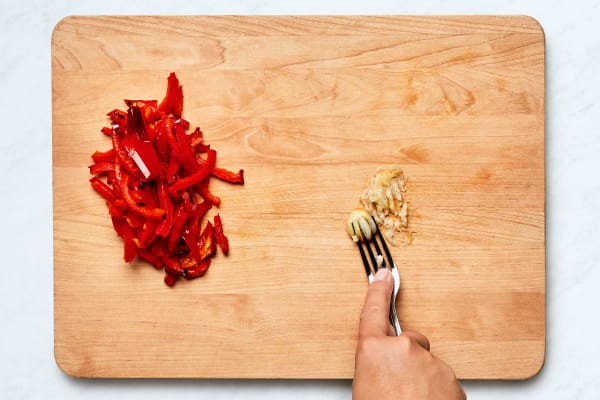 Slice Bell Pepper and Mash Garlic