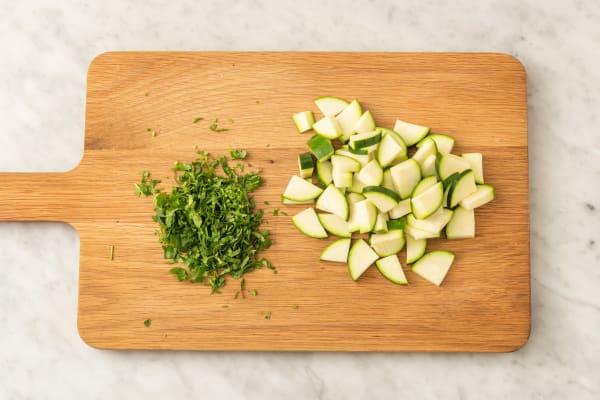 Förbered zucchini
