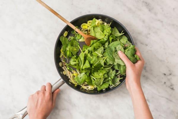 Prei en spinazie bereiden