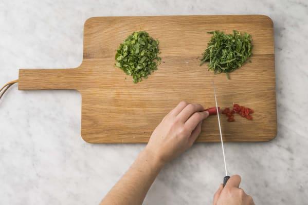 Förbered örter & chili